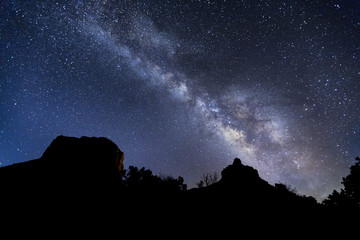 The Heavens Declare - The Milky Way above Courthouse Butte and Bell Rock - Sedona, Arizona
