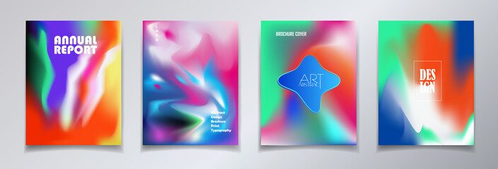 Modern brochure covers set, futuristic design. Abstract Diffuse colorful gradient phone screen background. Vector template minimalist poster, pop art flyer, typography print wallpaper banner