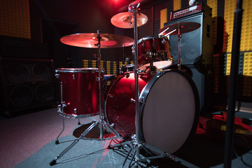 Background of modern profession drum set on stage , copy space