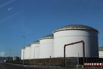 Oil storage tanks in the port of Rotterdam