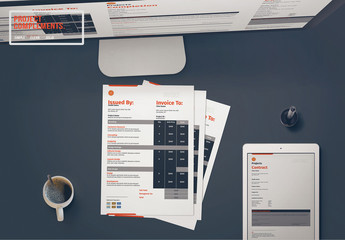 Project Invoice Layout Set with Red Accents