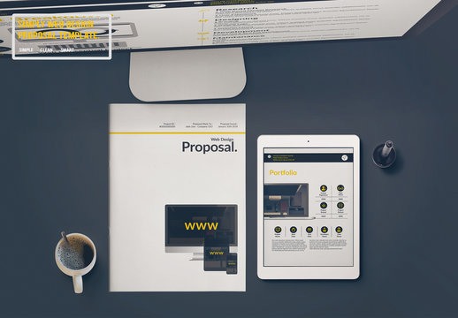 Website Design Proposal Layout with Yellow Accents