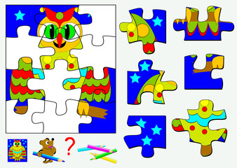 Logic puzzle game for children and adults. Need to find corresponding details and to draw them in empty places. Vector  cartoon image.