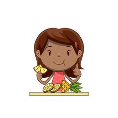 Little girl eating pineapple