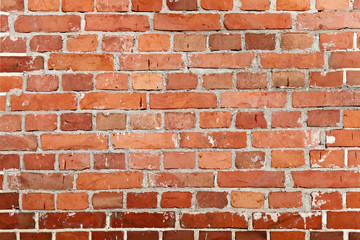 Brick wall background, red stones texture. Construction blocks in a line