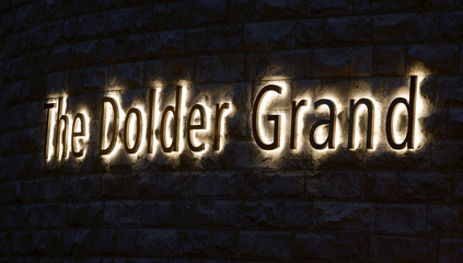 Logo of The Dolder Grand is seen in front of the luxury hotel in Zurich