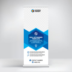 Roll-up banner template, stand design for exhibitions, presentations, seminars, modern business concept