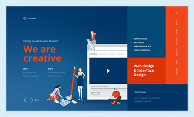 Creative website template design. Vector illustration concept of web page design for website and mobile website development. Easy to edit and customize.