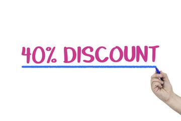 business, sale, discount concept. 40 percent concept