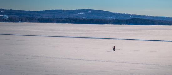 Rattvik - March 30, 2018: Panorama of the frozen lake Siljan in Rattvik, Dalarna, Sweden