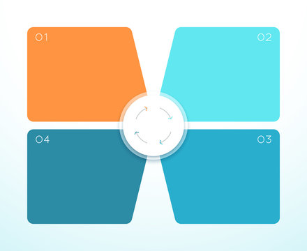 Vector 3d Colorful 4 Square Infographic Diagram