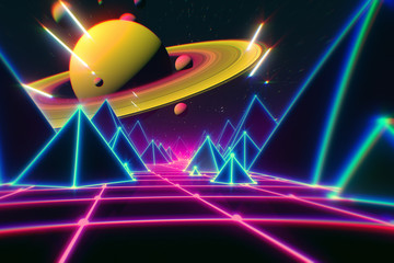 Retro futuristic flight over grid,3d illustration background 80s retro fantasy.