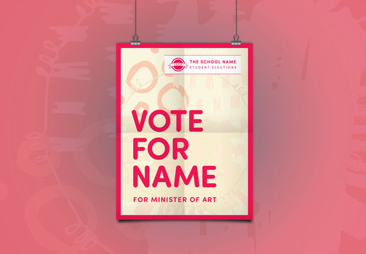 School Election Poster Layout with Red Accents
