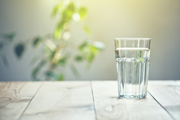 Fotorollo Wasser Glass of pure water on sunlight background with natural plant