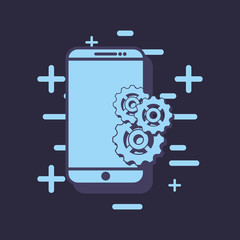 smartphone with gear wheels over blue background, vector illustration