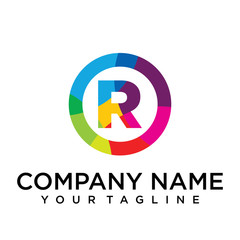 letter r logo design template. Colorful lined creative sign