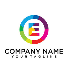 letter e logo design template. Colorful lined creative sign