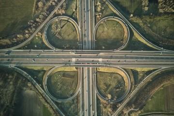 Freeway cloverleaf interchange