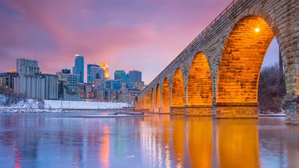 Fototapete - Minneapolis downtown skyline in Minnesota, USA