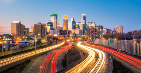 Minneapolis downtown skyline in Minnesota, USA