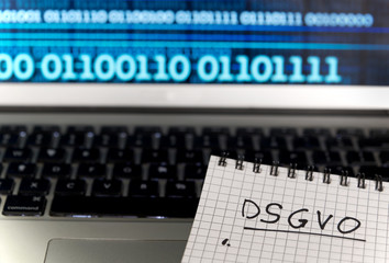 German General Data Protection Regulation DSGVO new law in 2018 - checklist, notepad on keyboard