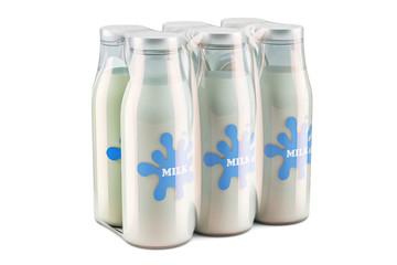 Package of glass milk bottles in shrink film, 3D rendering