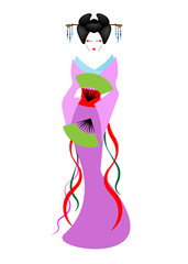 Portrait of Japanese or asian girl, traditional style with Japanese kimono, madama butterfly style. Traditional geisha colorful costume Kimono,  traditional dress, satin ethnic clothes. Vector isolate