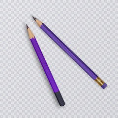 Vector illustration of two sharpened realistic pencils isolated on white background