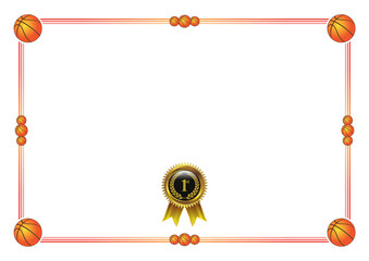 Basketball Certificate Blank with gold badge medal