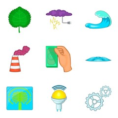 Energy of water icons set, cartoon style