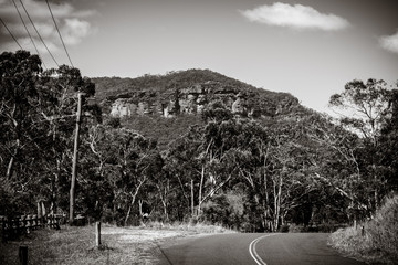 Megalong Valley winding road, Blue Mountains, NSW, Australia