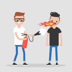 Quarrel conceptual illustration. Two arguing characters. Flames and fire extinguisher. Flat editable vector illustration, clip art