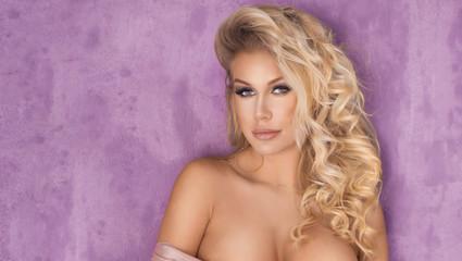 Sensual blonde lady posing.