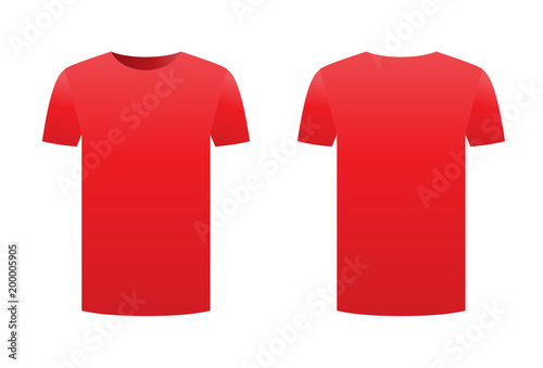 Red T Shirt Template Isolated On White Background Front And Back Design Short Sleeve