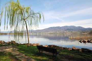 Varese Lake, Italy, April 06, 2018 : Varese Lake e Compo dei Fiori Mountain