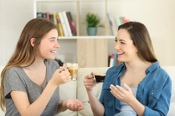 Two friends talking and drinking coffee at home