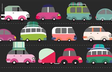 Traffic jam scene - city road full of cars standing in traffic congestion