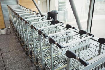 Trolleys kept in a row