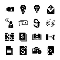 icon Currency with phone transfer, envelope with money, financial document, exchange and internet banking