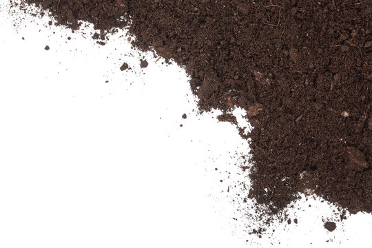 Pile heap of soil isolated on white background with copy space for your text. Top view