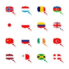 icon Flag with flag of poland, flag of norway, flag of columbia, flag of latvia and flag of great britain