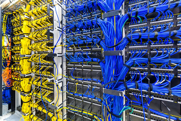 Rack with generic ethernet cat5e cables, part of a large company data center. Wall mural