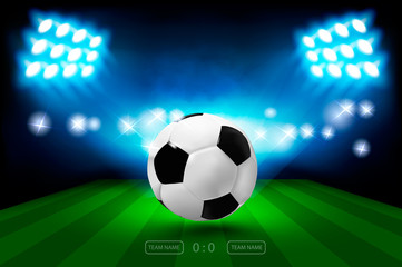 Football arena with bright stadium lights and ball. Football Championship 2018 Soccer Cup. Vector illumination