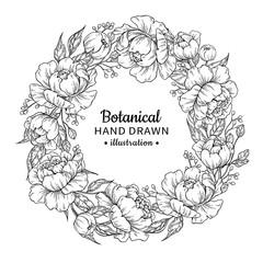 Flower wreath. Vintage vector frame drawing. Peony, rose, leaves