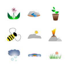 icon Nature with snow mountain, snow landscape, flowerpot, river and snowflakes