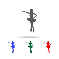 silhouette of ballerina icon. Elements of dance multi colored icons. Premium quality graphic design icon. Simple icon for websites, web design, mobile app, info graphics