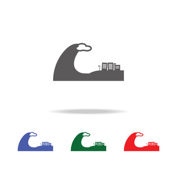Tsunami city icon. Elements of desister multi colored icons. Premium quality graphic design icon. Simple icon for websites, web design, mobile app, info graphics