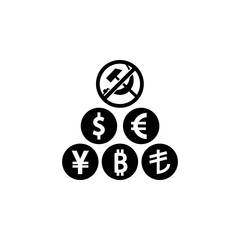 Soviet ruble and other currencies icon. Element of communism illustration. Premium quality graphic design icon. Signs and symbols collection icon for websites, web design