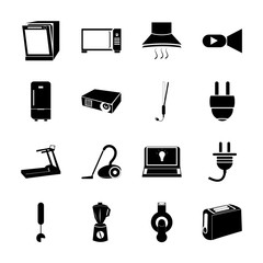 icon Electronic with cable, lens, cooking, camera and flash