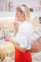 Pretty blonde smelling perfume bottle